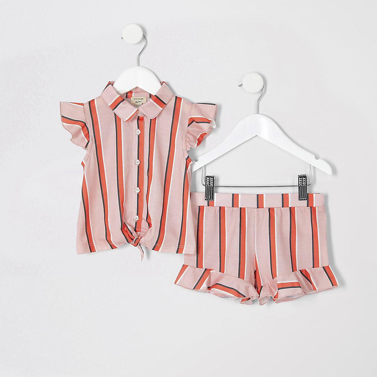 Mini girls pink stripe shirt outfit