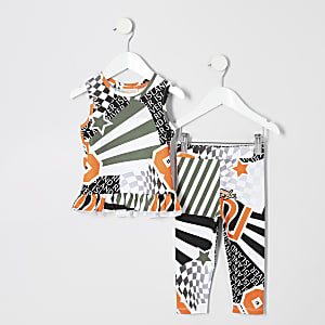 Mini girls orange peplum top outfit
