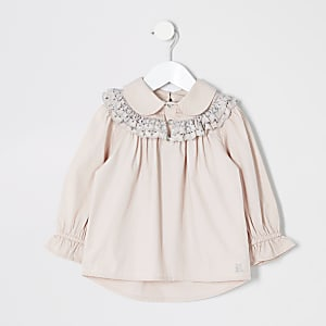 Chemise rose avec broderie anglaise pour mini fille