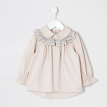 Mini girls pink broidery shirt
