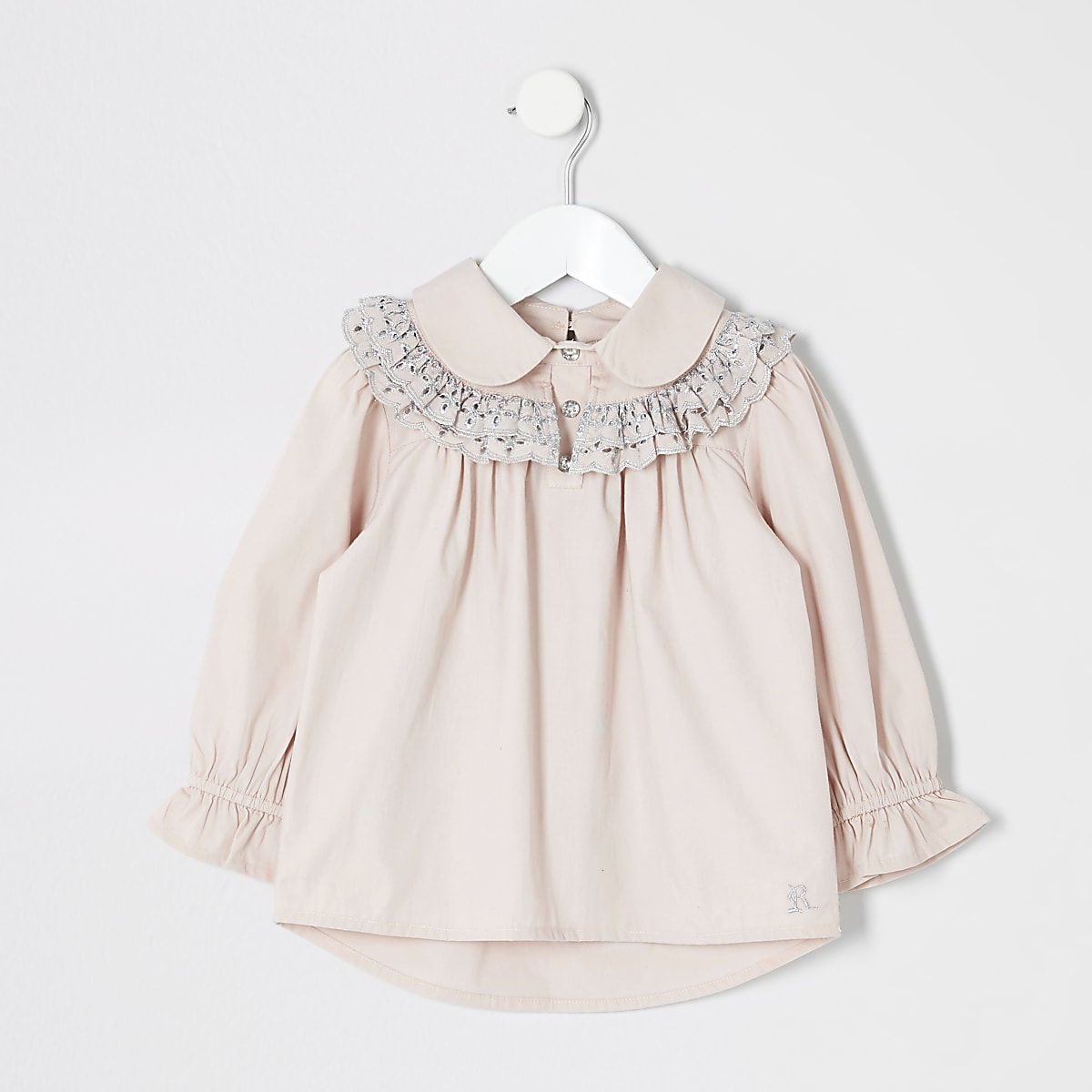 Mini girls pink broidery shirt