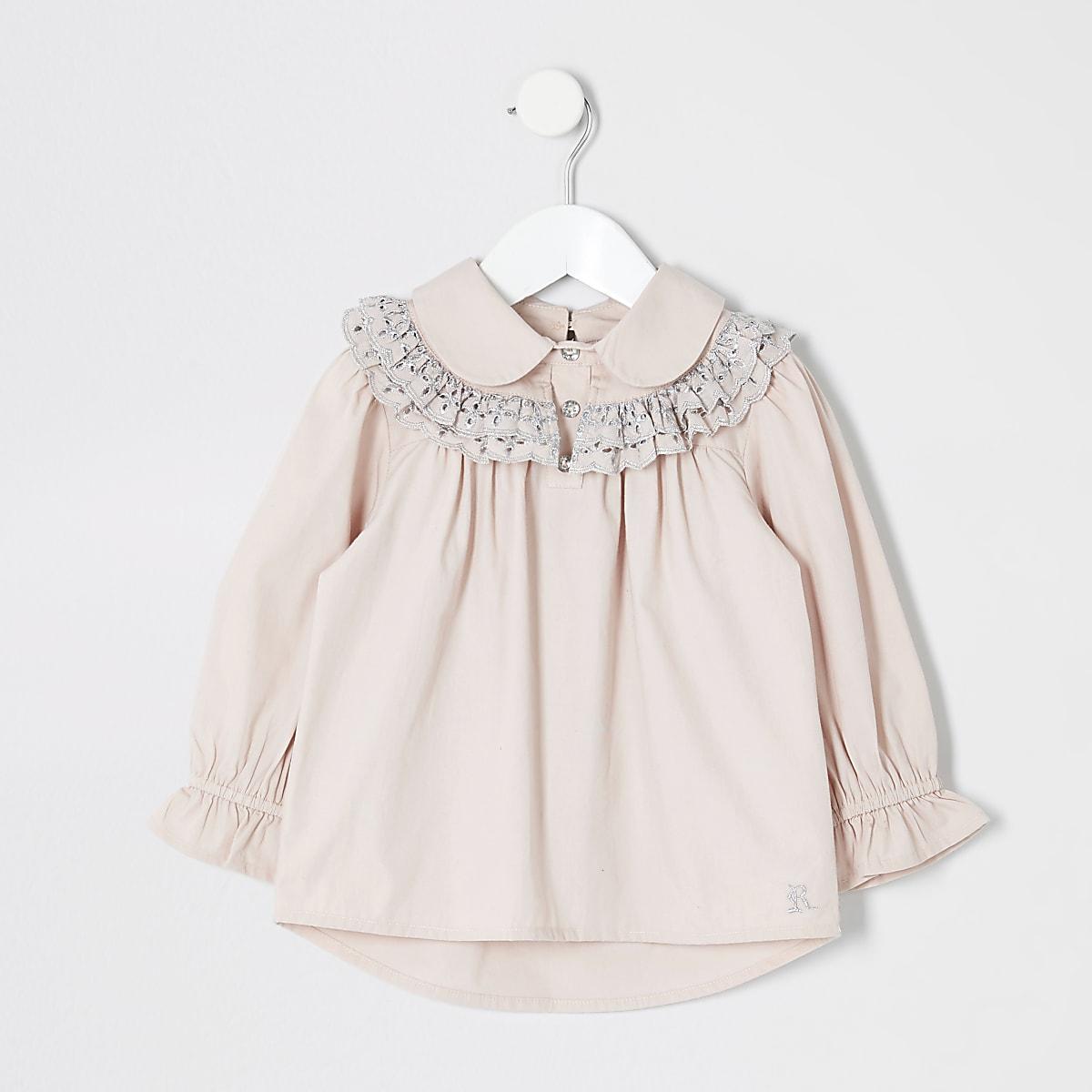 Mini - Roze overhemd met borduursel voor meisjes