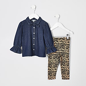 Mini - Outfit met denim overhemd en legging voor meisjes