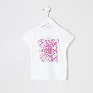 Mini girls white tie dye print T-shirt