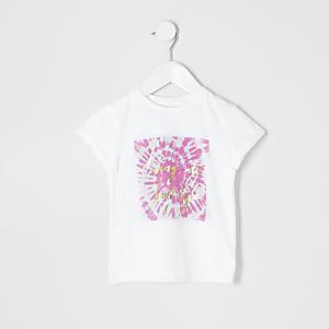 T-shirt imprimé tie and dye blanc mini fille