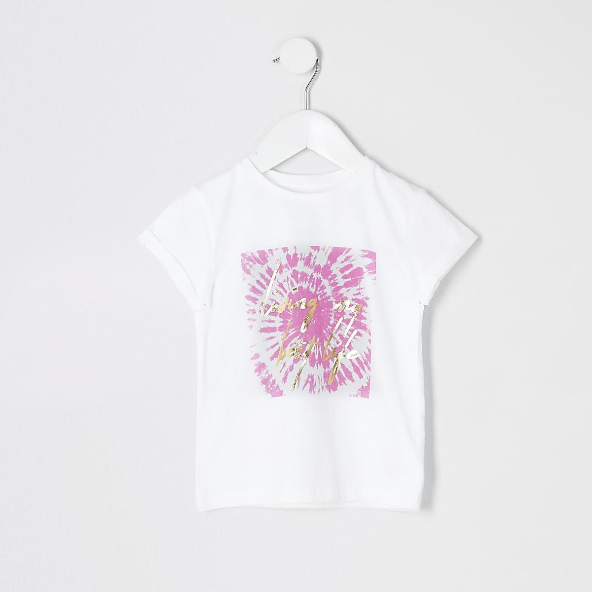 Mini girls white tie dye print T-shirt