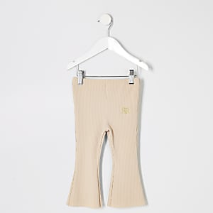 Mini girls beige rib flare trousers