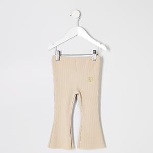 Pantalon évasé beige côtelé pour mini fille