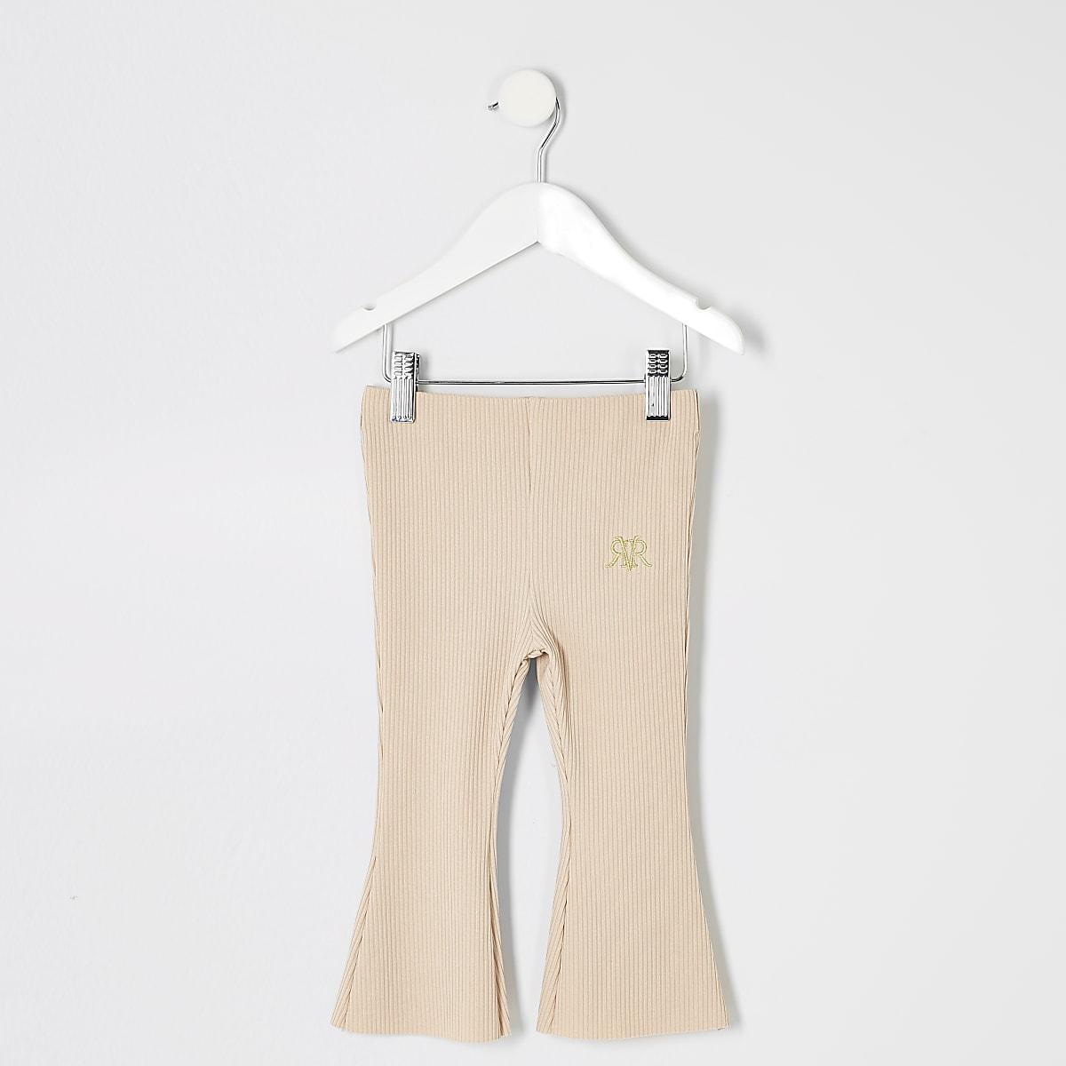Mini girls beige rib flare trousers