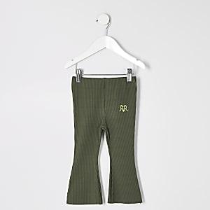 Pantalon évasé kaki côtelé pour mini fille