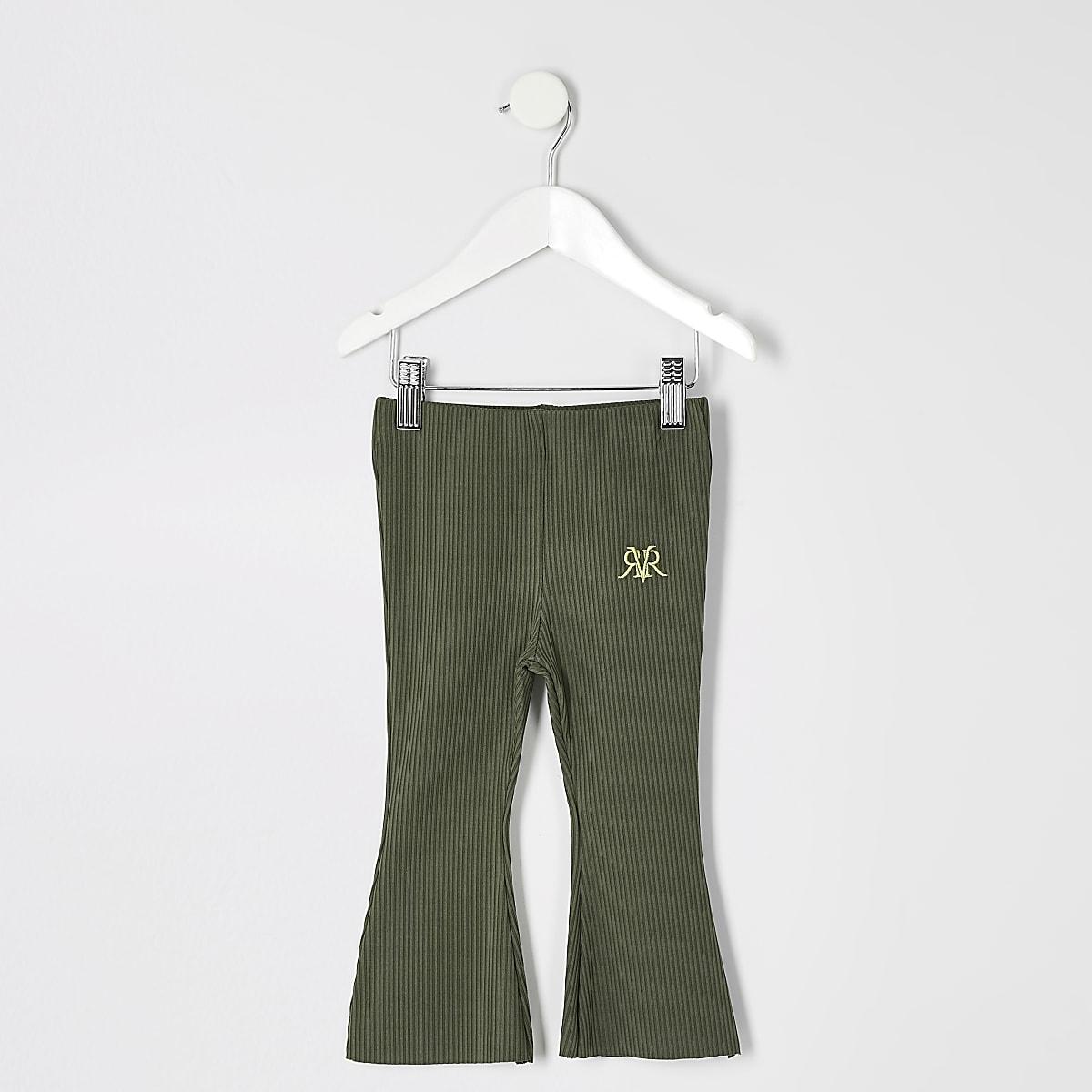 Mini - Kaki geribbelde uitlopende broek voor meisjes