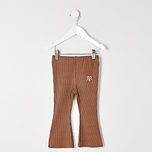 Mini girls rust rib flare trousers