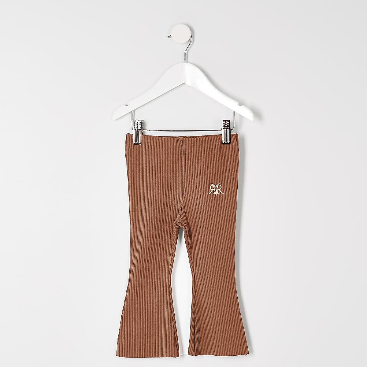 Mini - Roestbruine geribbelde uitlopende broek voor meisjes