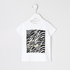 T-shirt blanc à imprimé zébré « Feel good » mini fille