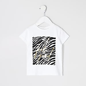 Mini - Wit T-shirt met 'Feel good'- en zebraprint voor meisjes