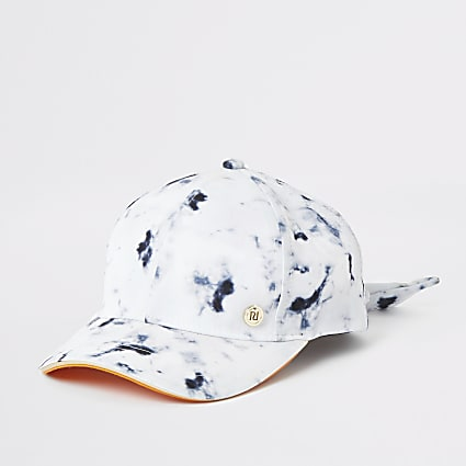 Girls white marble print cap