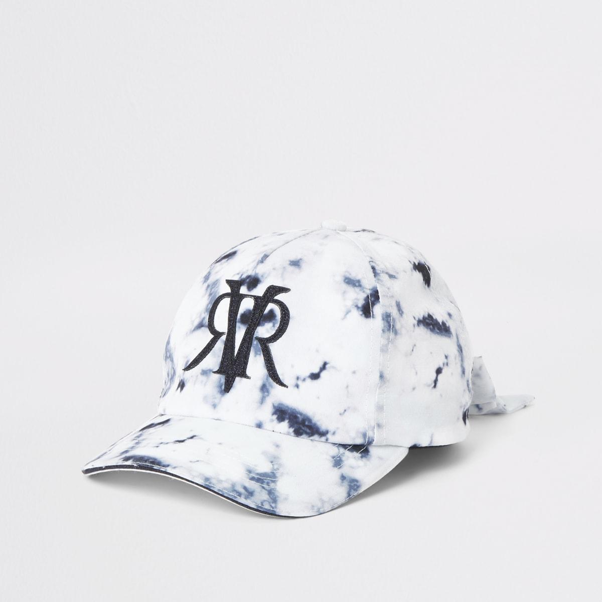 Mini girls white marble cap