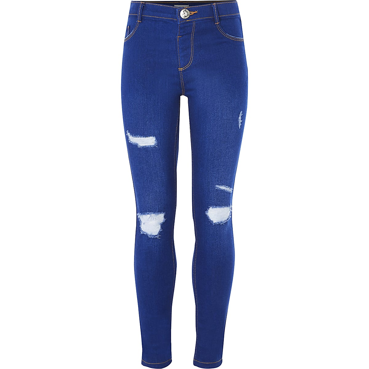 Girls blue ripped Molly jeggings