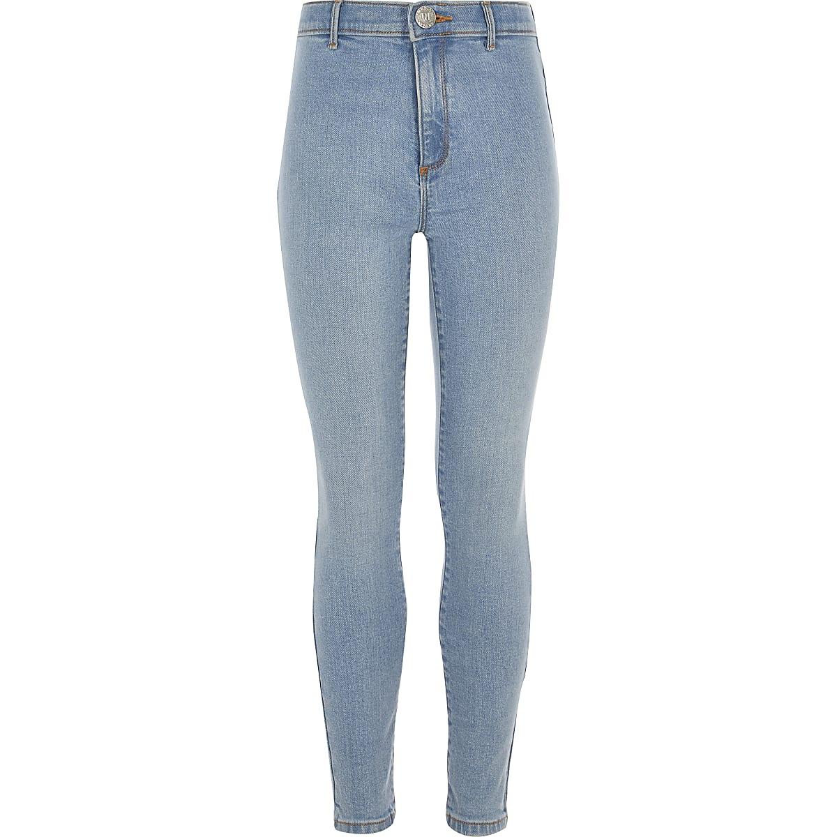 Kaia - Blauwe skinny jegging met hoge taille voor meisjes