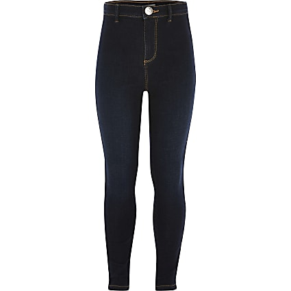 Girls dark blue Kaia disco skinny jeggings
