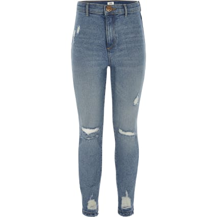 Girls blue Kaia high rise rip skinny jeggings