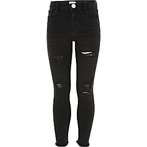 Girls black washed Amelie ripped jeans