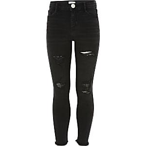 Amelie schwarze Jeans im Used- und Washed-Look für Mädchen