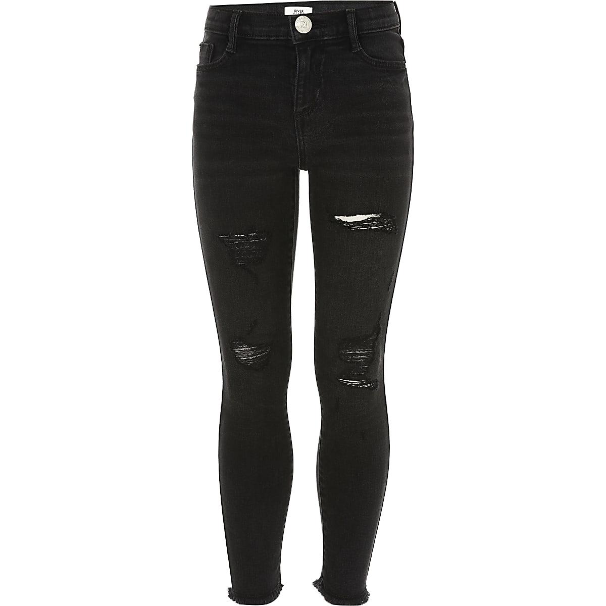 Amelie - Zwarte washed ripped jeans voor meisjes