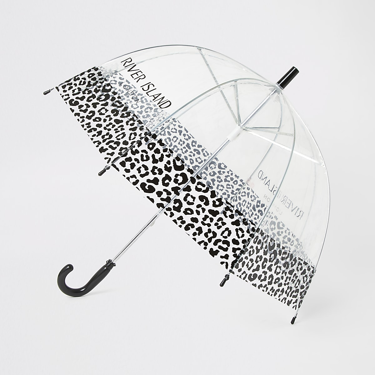 Black RI branded leopard umbrella