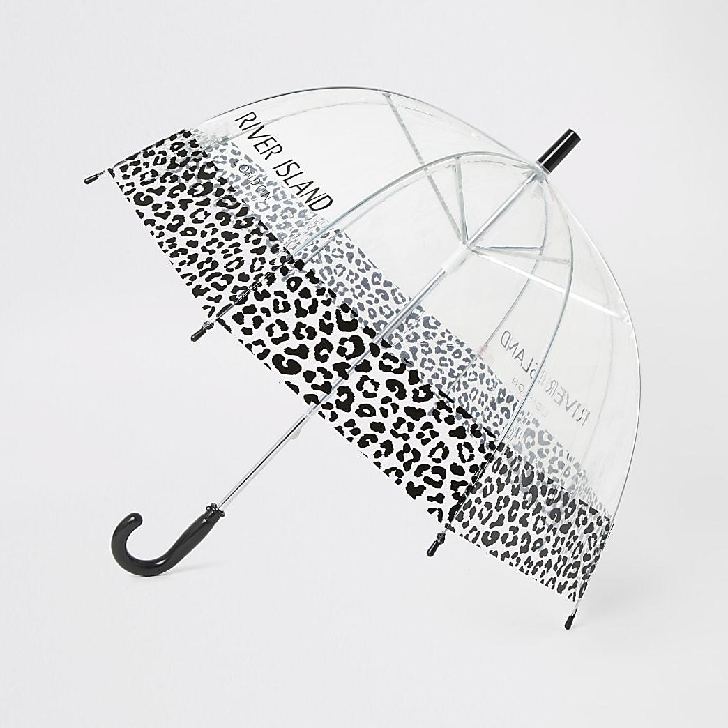 Black RI branded leopard umbrella