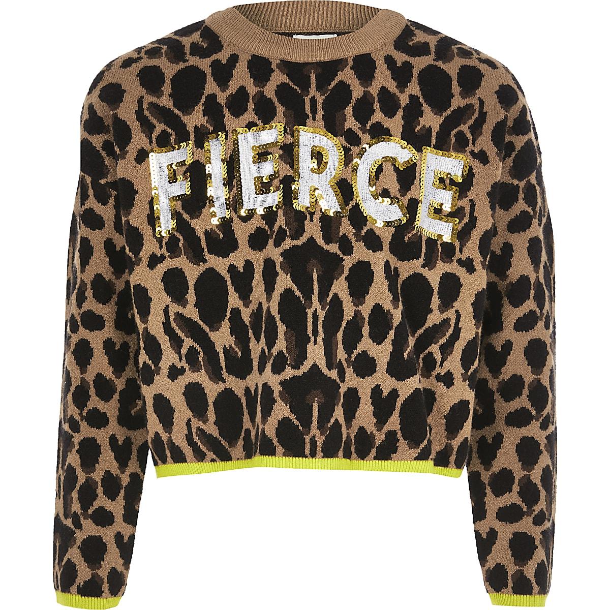 Bruine pullover met luipaardprint en 'fierce'-tekst voor meisjes