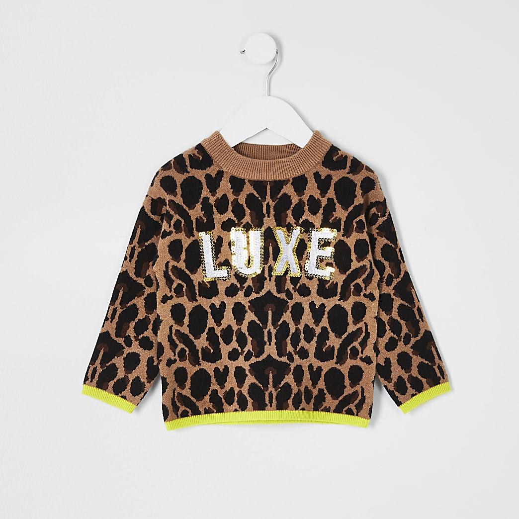 Mini girls 'Luxe' animal print jumper