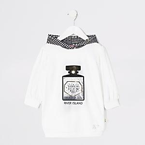 Weißes Hoodie-Kleid mit Parfum-Print für kleine Mädchen