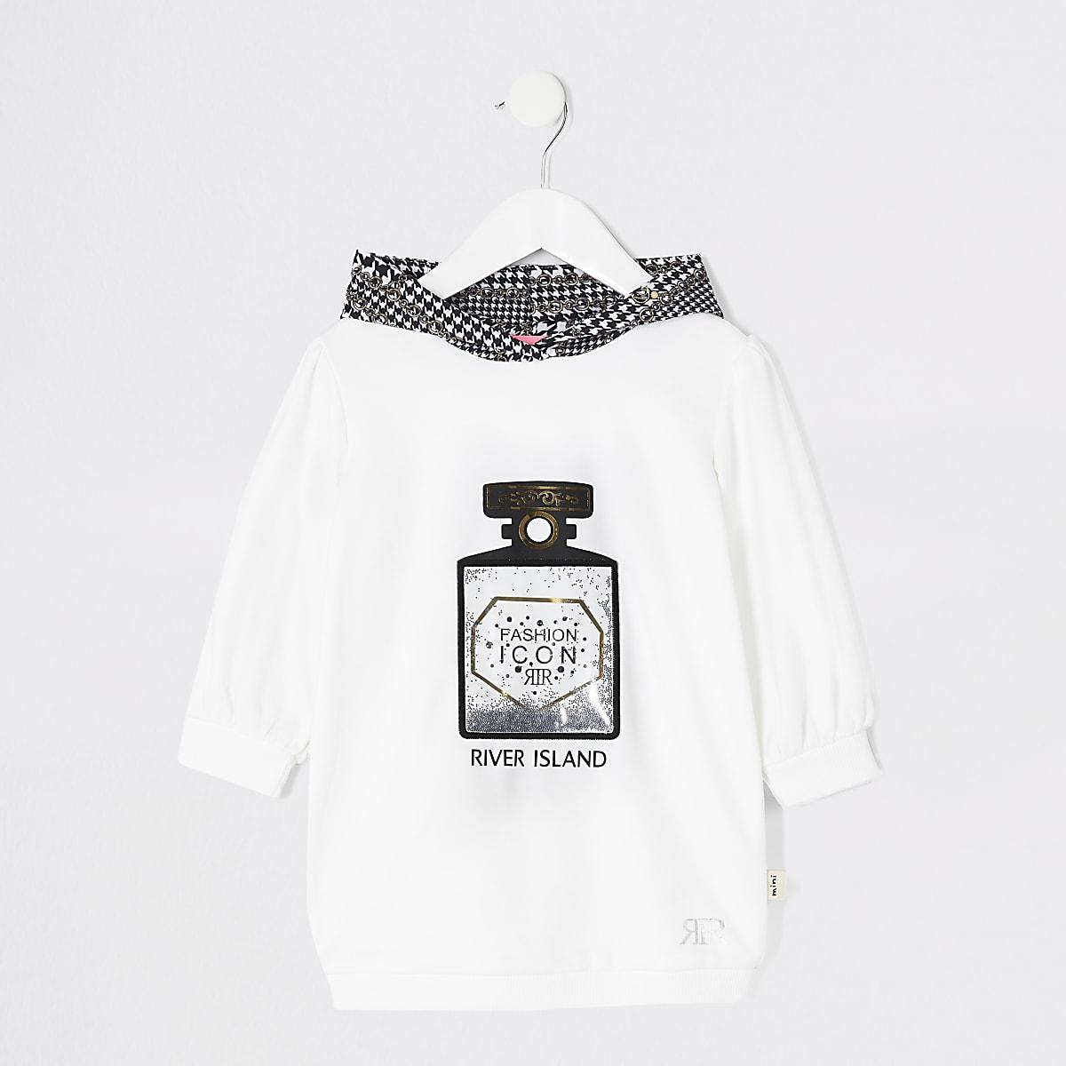 Mini - Witte hoodie-jurk met parfumprint voor meisjes