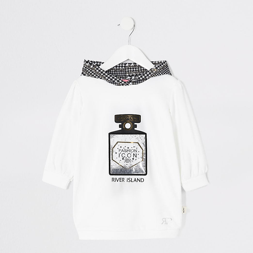Mini girls white perfume print hoodie dress