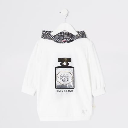 Mini girls white perfume print hoodie dress