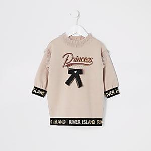 Mini - Roze sweatshirt-jurk met 'Princess'-tekst voor meisjes