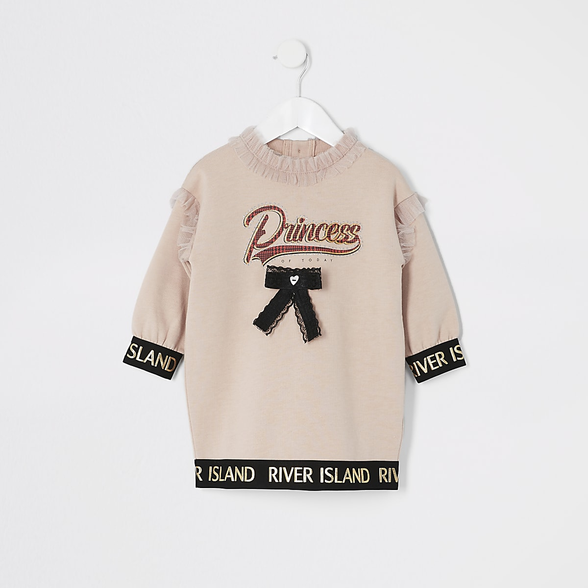 Mini girls pink 'Princess' sweatshirt dress