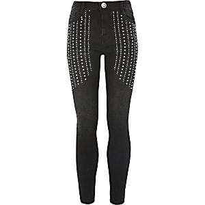 Amelie – Schwarze Skinny Jeans mit Strass für Mädchen
