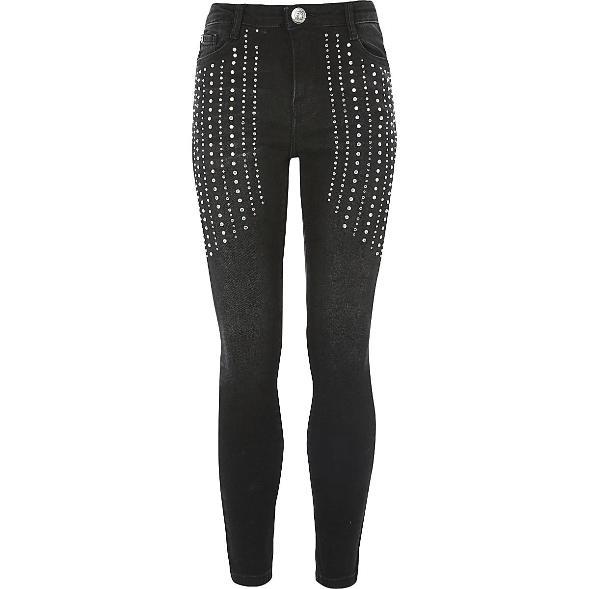 Amelie - Zwarte skinny jeans met siersteentjes voor meisjes