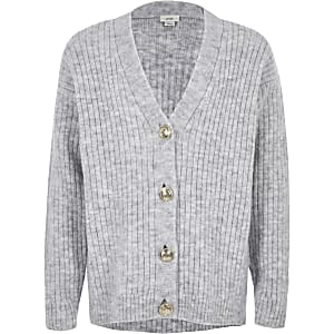 Girls grey rib button front cardigan
