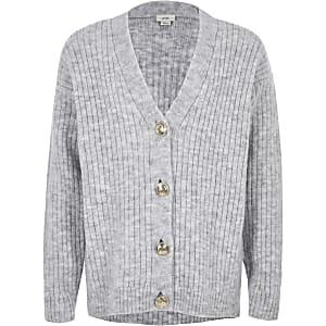 Cardigan gris côtelé boutonné devant pour fille