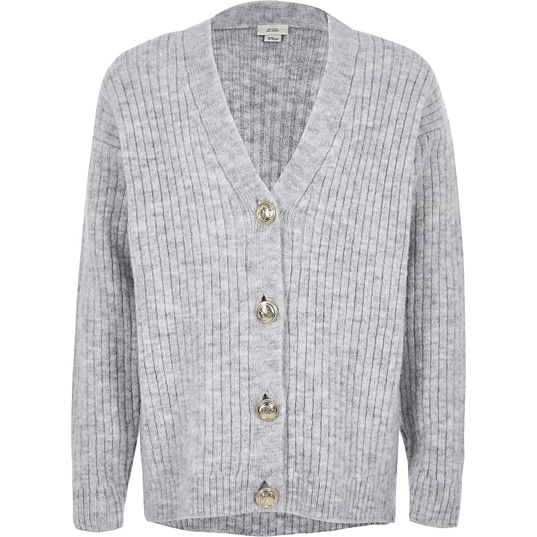 Girls grey rib button front cardigan