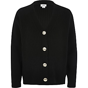 Girls black rib button front cardigan