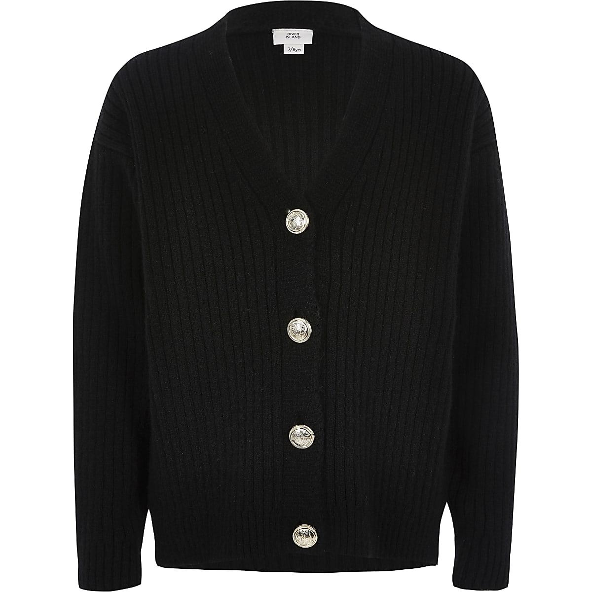 Girls black rib button front cardigan