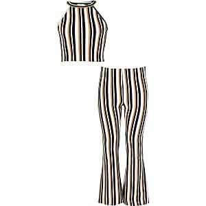 Girls cream stripe crop top outfit
