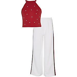 Girls red embellished crop and jogger outfit