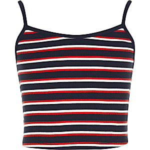 Girls navy stripe crop top