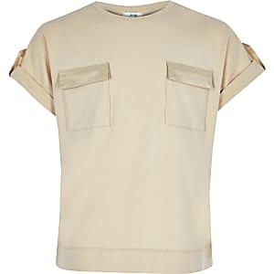 Beige utility T-shirt voor meisjes