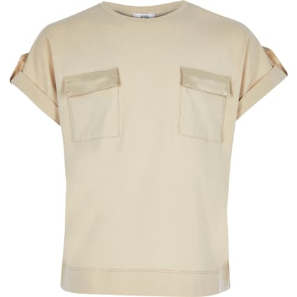 Girls beige utility T-shirt